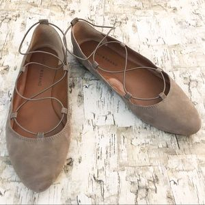 Lucky Brand Aviee Taupe Suede Flats Size 9